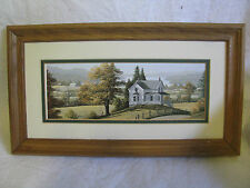 Framed Country Farmhouse reproduction by William J. Saunders, 11.5x7.5x.75""
