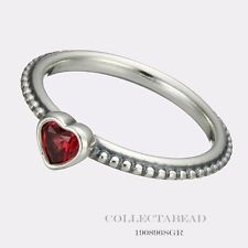 Authentic Pandora Silver Golden Red Synthetic Ruby Heart Ring Size 56 190896SGR