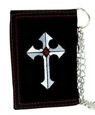 Medieval Holy Cross Tri-fold Wallet with Chain Alternative Clothing Faith Jesus