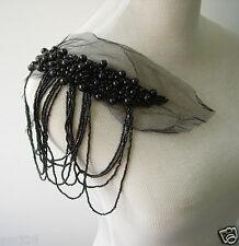 EP73 Trendy Fringed Bugle Beaded Pearl Epaulette Applique Black Sew On Dress
