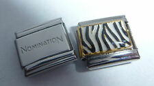 ZEBRA STRIPES 9mm Italian Charm + 1x Genuine Nomination Classic Link PATTERN