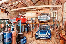 Austin Morris Mini Cooper Classic Car Garage Workshop Birthday Card