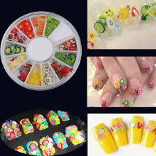 Voguish  Wheel Mixed Fimo Clay Fruit Slice Canes Sticker 3D Nail Arts Decoration