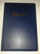 A5 MENU COVER/FOLDER IN BLUE LEATHER LOOK PVC-with pockets on page 2 + 3 ONLY!