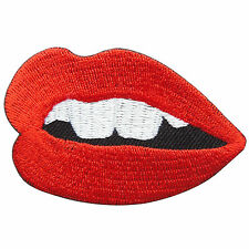 Kiss Mouth Teeth Red Lipstick Rockabilly Pin Up Girl Sexy Iron on Patches #S062