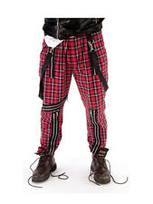 Para Hombre Tartan Bondage Pantalones Fancy Dress 70s 80s Punk Rocker Sex Pistols Disfraz