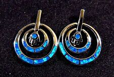 Sterling 925 Silver SF Post Earrings Blue Lab Fire Opal Loose Dangle Circles