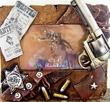 "Picture Frame Western Gun Revolvers Shell Badge Wanted Poster 4 ""x 6"" photo"