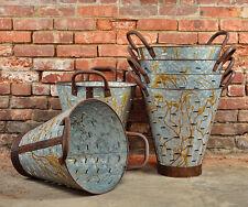 Olive Bucket - Extra Large - Olive Basket - Metal Basket - Rusted Bucket Planter