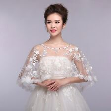 New Bride Shawl Wrap Lace Shrug Wedding Jacket Bolero Rhinestone Stole Cape