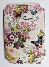 *PUNCH STUDIO Set of 4 Thank You Blank Note Cards~Swirl~Floral~Roses~Butterflies
