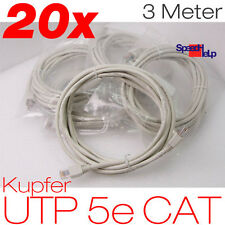 20x PATCH CORD 3 METER UTP 5e CAT KUPFER KABEL RJ45 24AWG FÜR ALLE SWITCH ROUTER