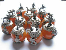 A set old Decorated Tibet-silver handwork 12 zodiac beeswax statue Ball & dragon