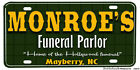 Mayberry Andy Griffith Monroe's Funeral Parlor Novelty Aluminum License