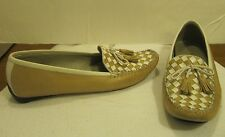 ROBERT ZUR WOMANS DRIVING MOCCASINS CHECKERED TAN AND WHITE SHOES SIZE 10M #2761