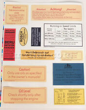 Mercedes 190 SL Engine Compartment Stickers Set New