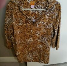 Ruby Rd Size 1X Animal Print Knit Top 3/4 sleeve with beaded neckline