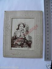 OLD CABINET F PHOTO CDV Victorian Lady fashion in Embossed Frame K935