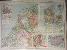 1939 MAP ~ HOLLAND AMSTERDAM ROTTERDAM~ DENMARK COPENHAGEN CITY PLAN ICELAND