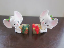 VINTAGE NAPCO NAPCOWARE MOUSE CHRISTMAS GIFT CANDLE HOLDER PAIR SET X-9597 RARE