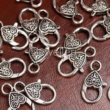20x Antique Silver Heart Lobster Lock Clasps Charms Jewelry Findings Craft