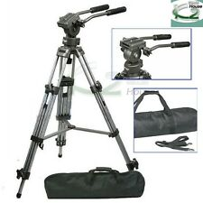 Professional Heavy Duty 65mm Video Camera Tripod w/ Fluid Pan Head DSLR Cameras