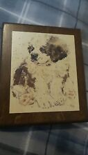 Vintage Brown Colored Lithograph On Wood St Bernard Puppy Bh Powell Signed