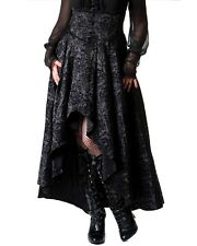 Black Satin Brocade STEAMPUNK Victorian Waterfall Train Corset Skirt GOTH 10-12