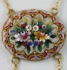 """VINTAGE MICRO MOSAIC CIRCA 1900 18K YELLOW GOLD DOUBLE SWAG NECKLACE 16"""" LONG"""