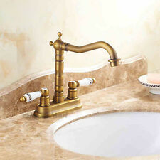 Traditional Ceramic Double Handle Antique Brass Bathroom Basin Sink Mixer Tap