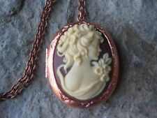 VICTORIAN WOMAN PORTRAIT CAMEO ROSE GOLD TONE COPPER LOCKET - QUALITY