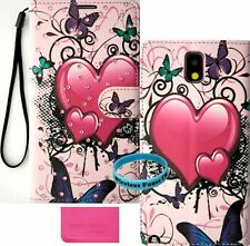 Butterfly Heart Bling Wallet Purse PU Leather Samsung Galaxy Note 3