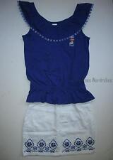 Gymboree Sparkle Safari Blue Tank Top & White Denim Skirt Set Girls 7 NEW NWT