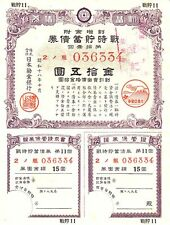 B2502, War Saving Bond of Manchukuo, 15 Yen, China Puppet Government, 1944 WWII