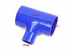 "Blue Silicone T-Piece 2"" 51mm I.D 25mm Blow Off Valve Bov Intercooler Pipe"