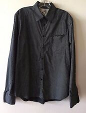 Men's Volcom Stone Tailored Fit Button Up Long Sleeve Shirt Black White M REPAIR