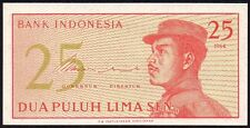 1964 INDONESIA 25 SEN BANKNOTE * CCC 028192 * UNC * P-93a *