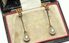 Antique Edwardian 9ct Gold Cultured Pearl Drop Screw Earrings