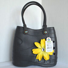 NWT Optari Small Sol Tote Flower Football Fobbz Black Rubber Purse Shopper Bag
