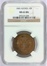 1865 Portuguese Azores 10 Reis Coin - NGC MS 63 BN Graded - KM# 14 - RARE