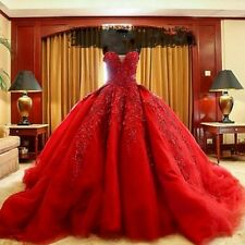 Luxury Red Lace Appliques Wedding Dresses New Ball Gown Organza Bridal Gowns