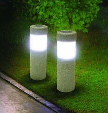 2 Solar Pillar LED Pathway Lights Path Stone Look Yard Garden Landscape Sidewalk
