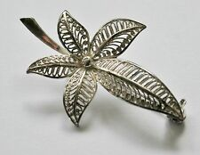 VINTAGE STERLING SILVER FILIGREE LEAF / FERN BROOCH - STERLING SILVER BROOCHES