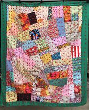 Vintage 1970's FUNKY CRAZY STRIP Quilt Bright & Colorful Fun Fabrics Excellent!