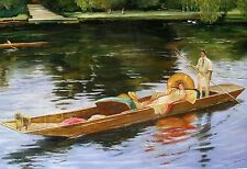 "Europe Replica John lavery Oil Painting - Boating On The Thame - size 36""x24"""