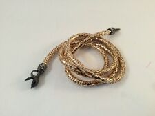 Long Gold Serpentine Snake Chain Lariat Necklace Belt Black Head Crystals