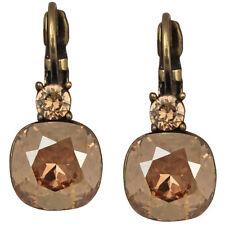 Kirks Folly Fairy Lights Leverback Earrings Brasstone & Golden Shadow Crystals