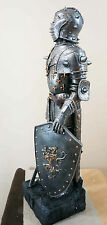 """Medieval Knight Suit of Armor Elite Guard Sword and Shield Figurine 29""""H Statue"""