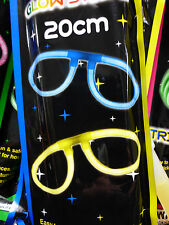 2 GLOW STICKS LUMINOUS GLASSES 20 cm LAST FOR HOURS BEND SHAKE ACTIVATE