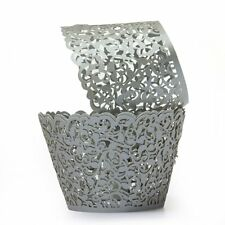 12X Filigree Vine Cake Cupcake Wrappers Wraps Cases Silver Gray T1